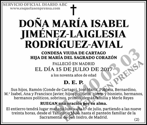 María Isabel Jiménez-Laiglesia Rodríguez-Avial